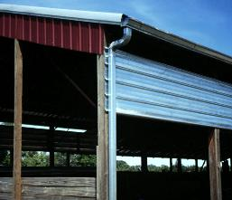 A roof runoff structure installed on a barn