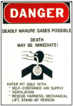 Web image: Hazard signs should be erected on all sides of a manure-pond