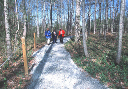 Web image: Photo of a recreation trail and walkway which guides visitors safely through natural areas, keeping sensitive areas protected. Click photo for full page view