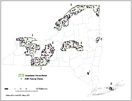 Web image: Locations surveyed during the 2005 grassland breeding bird focus area survey. Click map for full screen view