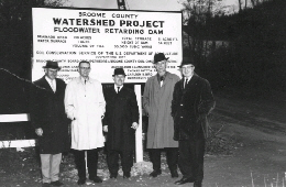 Web image: Photo of Soil and Water Conservation District directors at the first PL-566 construction site on the Little Choconut, Trout Brook and Finch hollow watershed. Click photo for full page view