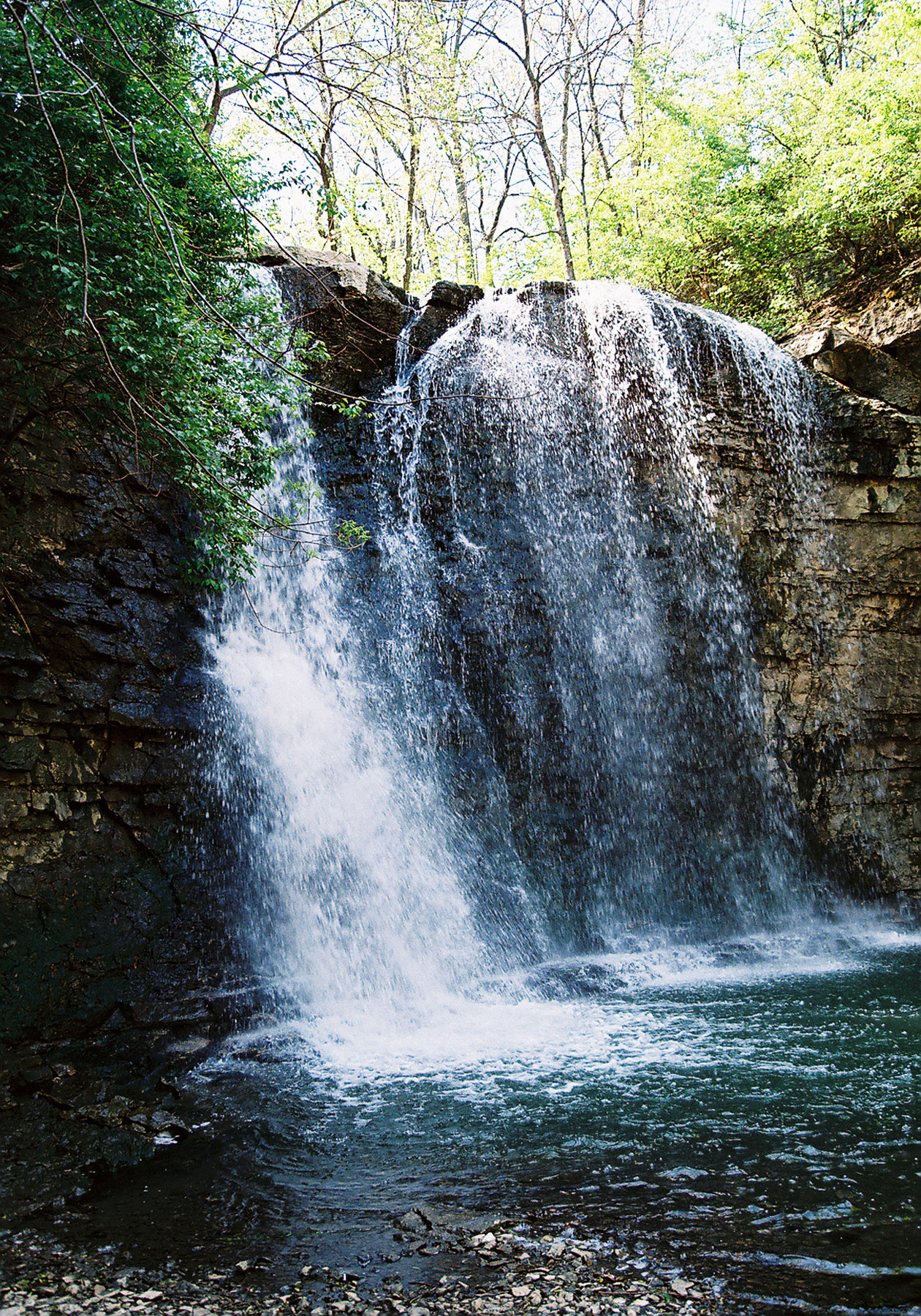 Waterfall that empties into the Scioto River. Franklin County, Ohio