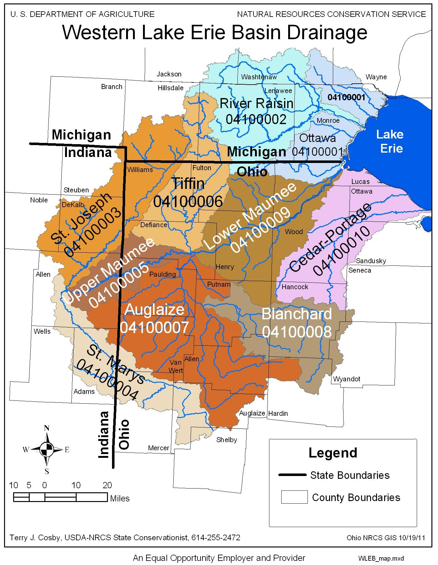 western lake erie basin watershed map. watershed map  nrcs ohio