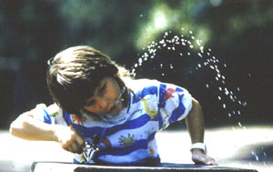 Child at drinking water fountain