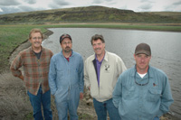 With the help of the NRCS, Stevens Ranch partners (from left) Tom Pfeifer, Don Schmauder, David Stevens and Derek Stevens have created or enhanced hundreds of acres of wildlife habitat.