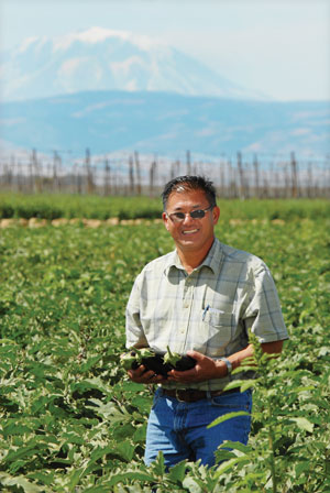 Lon Inaba standing in a field of eggplants, and holding three eggplants with a beautiful mountain in the background.