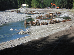 During construction of the rock vane water control structures, placement of the large rootwads will create habitat for aquatic wildlife. (Photo taken by Rick Bolger.)