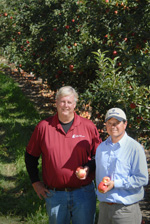 Image: Owner Mike Van Horn (left) and orchard manager Hector Torres.