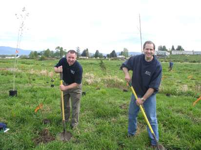 Tom Christensen planting along side Rick Noble at the Portage Creek Wildlife Sanctuary.
