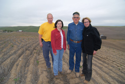 The Walters family has been farming the rolling hills north of Walla Walla for more than a century. From left, Jon, Katy, Ramon and Debi continue the tradition.