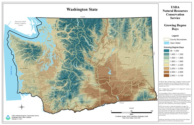 Washington Growing Degree Days Map.