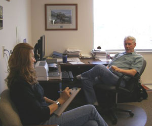 Earth Team volunteer, Pamela Nelson, interviewing area conservationist Harold Crose for the Getting to Know You article.