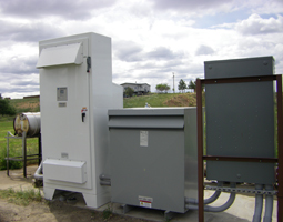 Image: Variable Frequency Drive (VFD) on irrigation pump system, control panel.