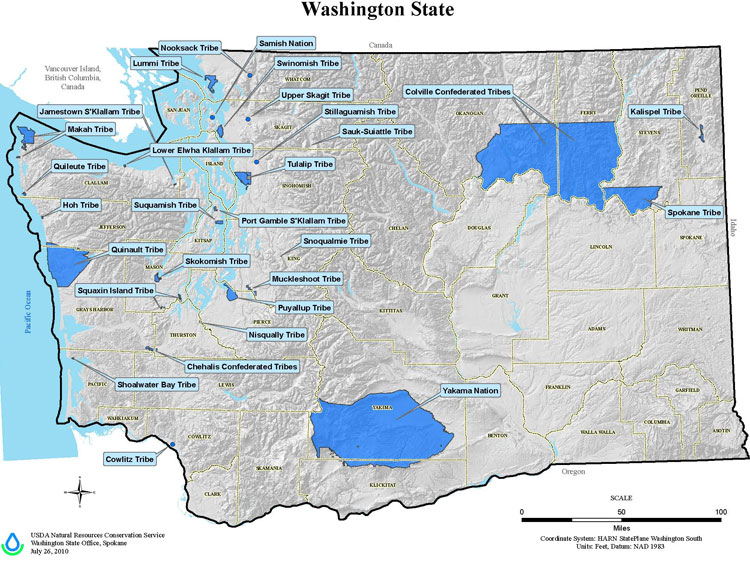 Map identifing Tribal lands within the state of Washington.