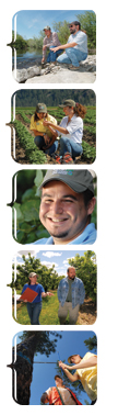 Five seperate images of NRCS's workers and farmers working together.