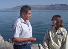 GIS specialist, discussing conservation measures with tribal chairman, Washoe County, NV
