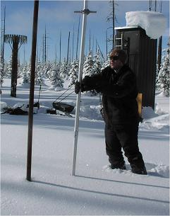 Electronic Technician Alex Rebentisch measuring snow at Lewis Lake Divide SNOTEL