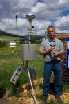 A weather stateion monitors conditions for burning bluegrass.