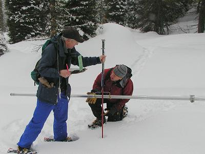Phil Morrisey and Jeff Anderson measure snow at Mores Creek, Idaho.