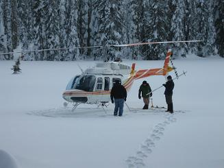 Helicopter snow survey in Clearwater River basin, February 15, 2013