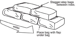 Illustration showing bags stacked with the rows staggered.