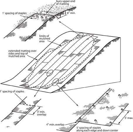 Illustration describing the method used to apply erosion control netting.