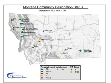 Figure 1. Montana Air Quality Non-attainment Area Map