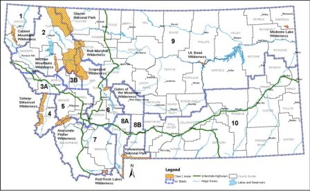 Figure 2. Map of mandatory and designated Class 1 Airsheds in Montana