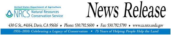 Natural Resources Conservation Service, California, News Release