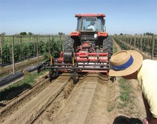 Lee's multi-task implement, attached to his tractor, allows him to disk his field less.