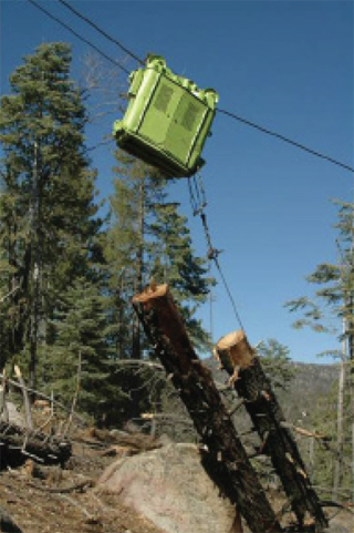 Recently cut timber are being transported up a steep hill by a cable-yarding system.