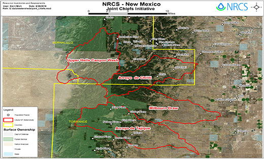 Map of New Mexico NRCS Joint Chiefs Initiative