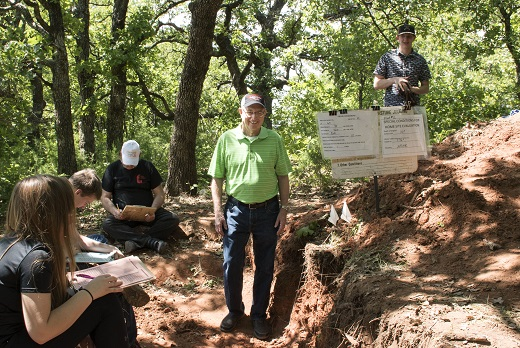 The 2016 National Land and Range Judging Contest marks the 55th contest Don Bartolina has assisted with, and the 31st he has coordinated. He stands here in a soil pit among several contestants practicing their land judging skills on the first of two practice days ahead of the official contest.