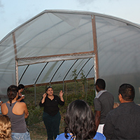 Diana Padilla talks about installing the seasonal high tunnel themselves and vegetables grown.