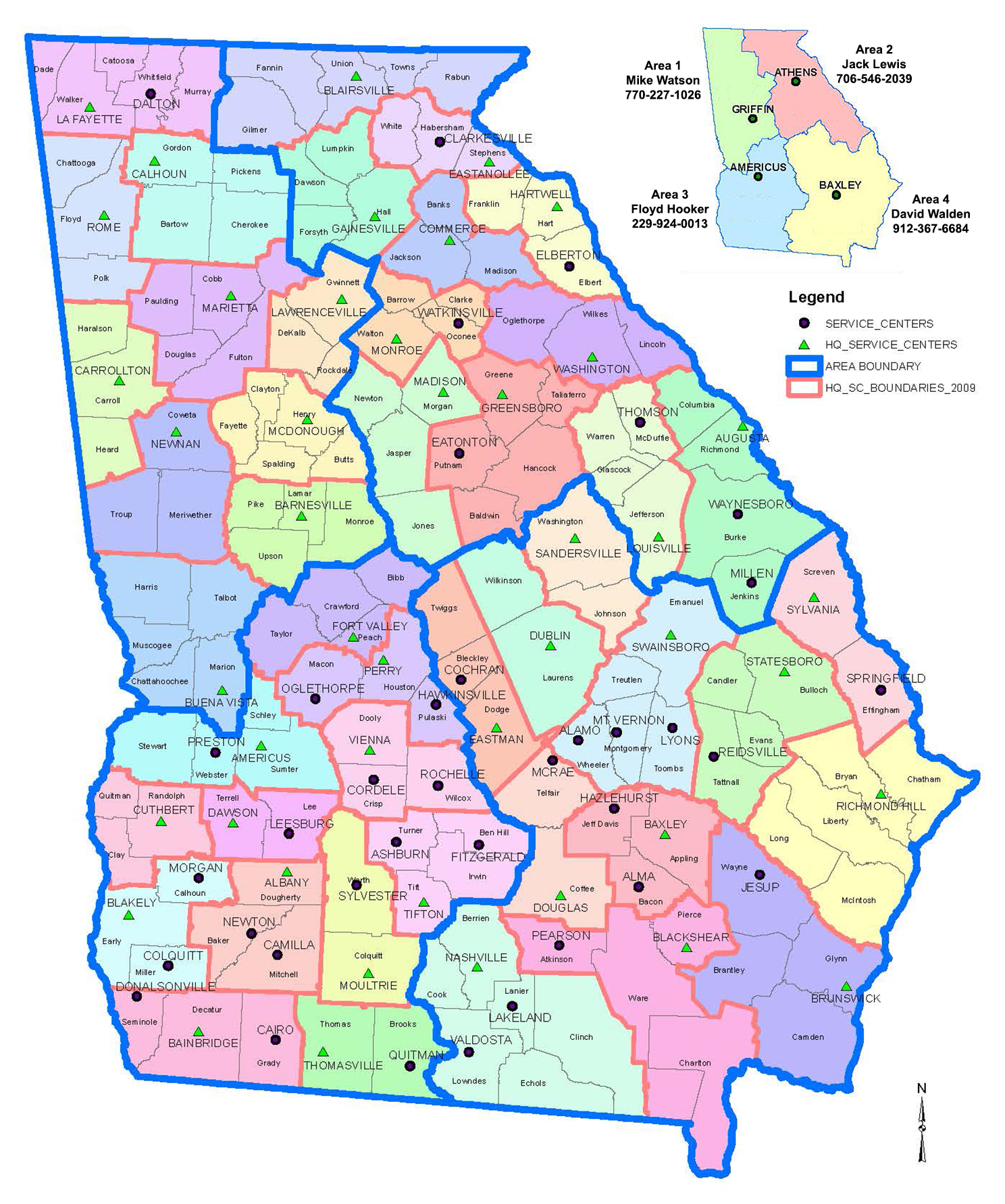 Georgia Service Center Administrative Areas (SCA) | NRCS Georgia