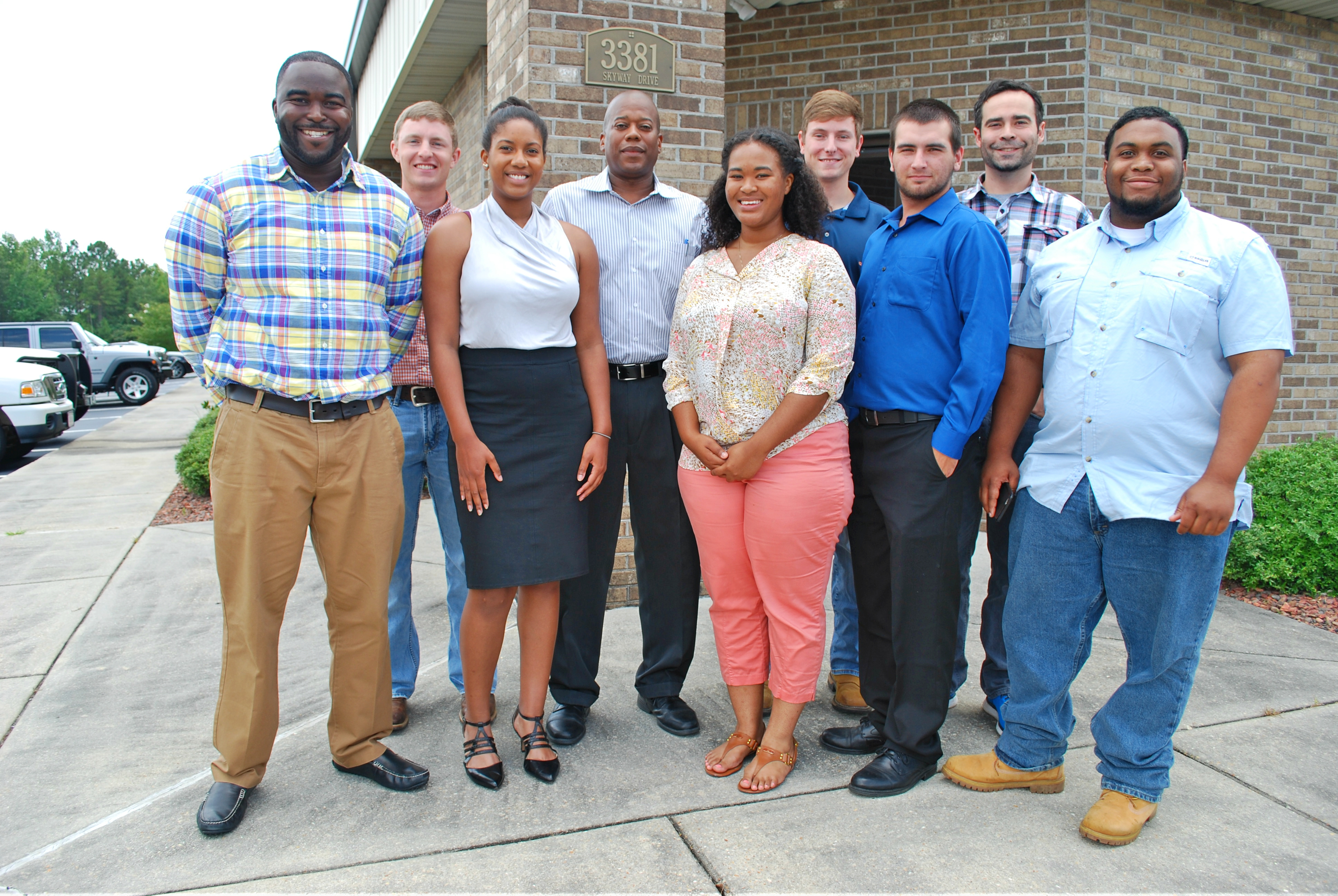 State Conservationist Ben Malone (center) takes a photo with this year's student interns. Pictured left to right: Cedric Williams, Daniel Williams, Jacqueline Martin, Ben Malone, Randi Butler, Corey Espey(TSP), Jaylan Hancock, Trey 'Ray' Reich and James Penn.