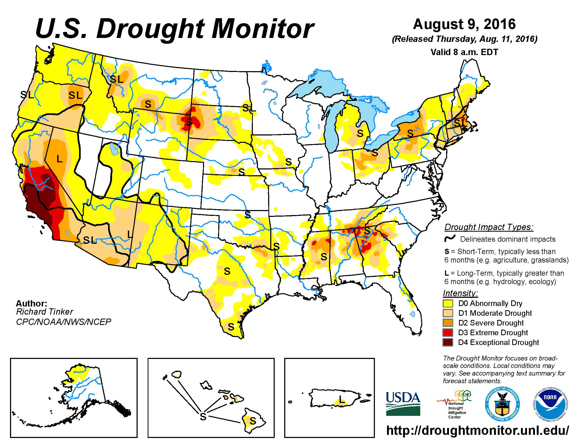 USDA National Drought Mitigation Center Host PR USVI Drought - Us drought map 2016