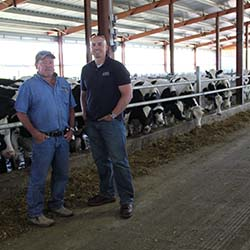 Joe and Ron in a heifer facility.
