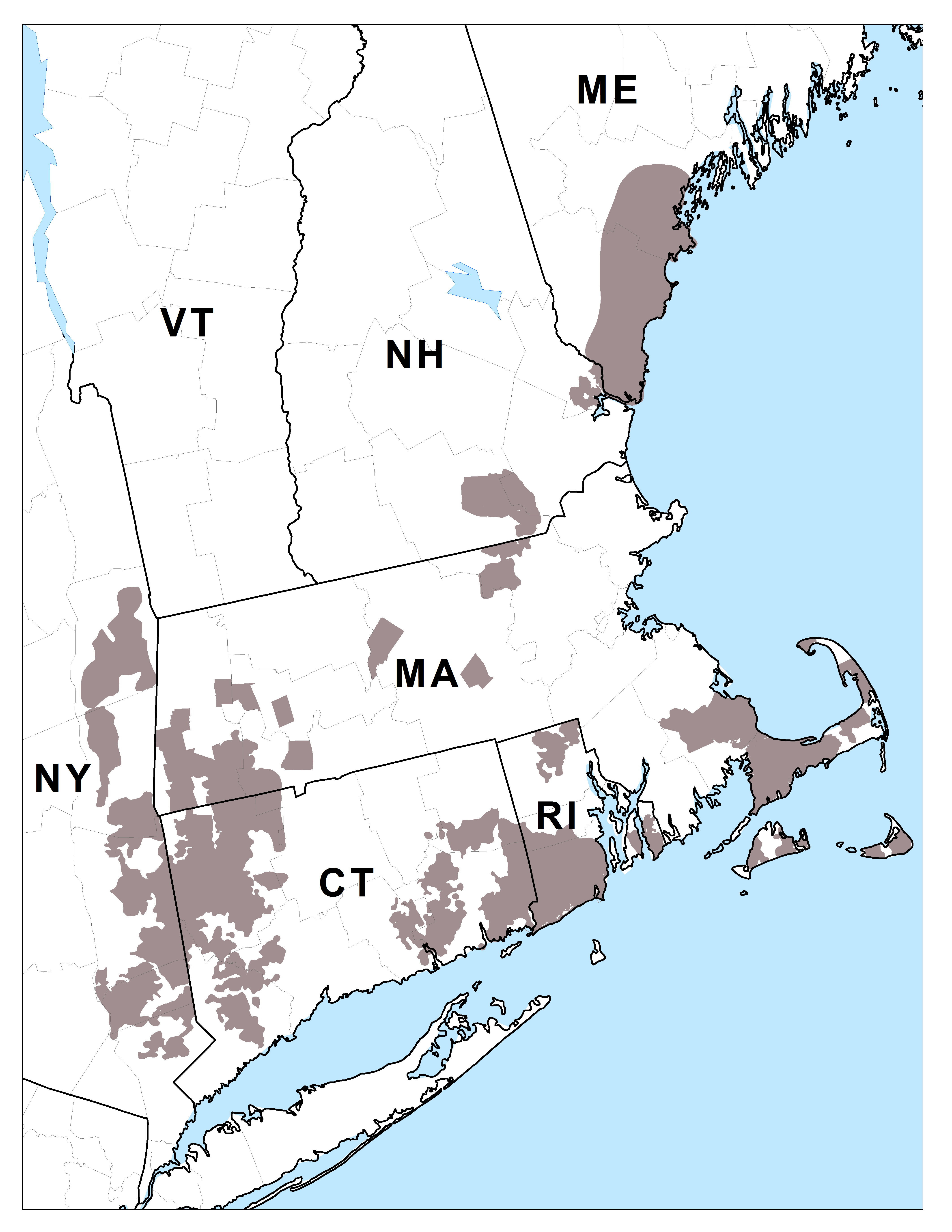 New England Cottontail Map