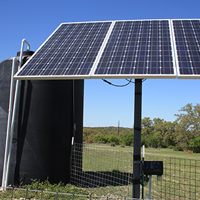Solar panel and water storage tank  improves water efficiency and distribution to cattle.