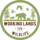 Working Lands for Wildlife Logo - drawing of a bear, turtle, birds, fish, trees and corn