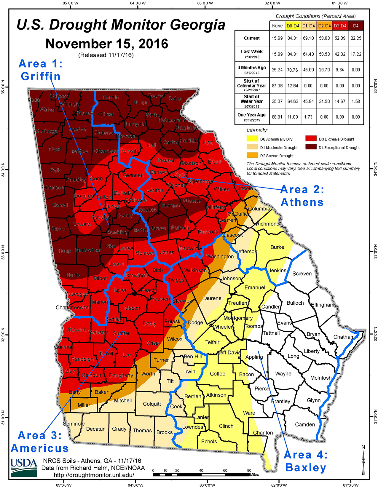 2016 Drought Map | NRCS Georgia