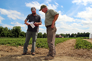 Planner and farmer in cropland field.