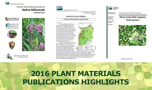Graphic image of 2016 Plant Materials Program publications highlights banner.