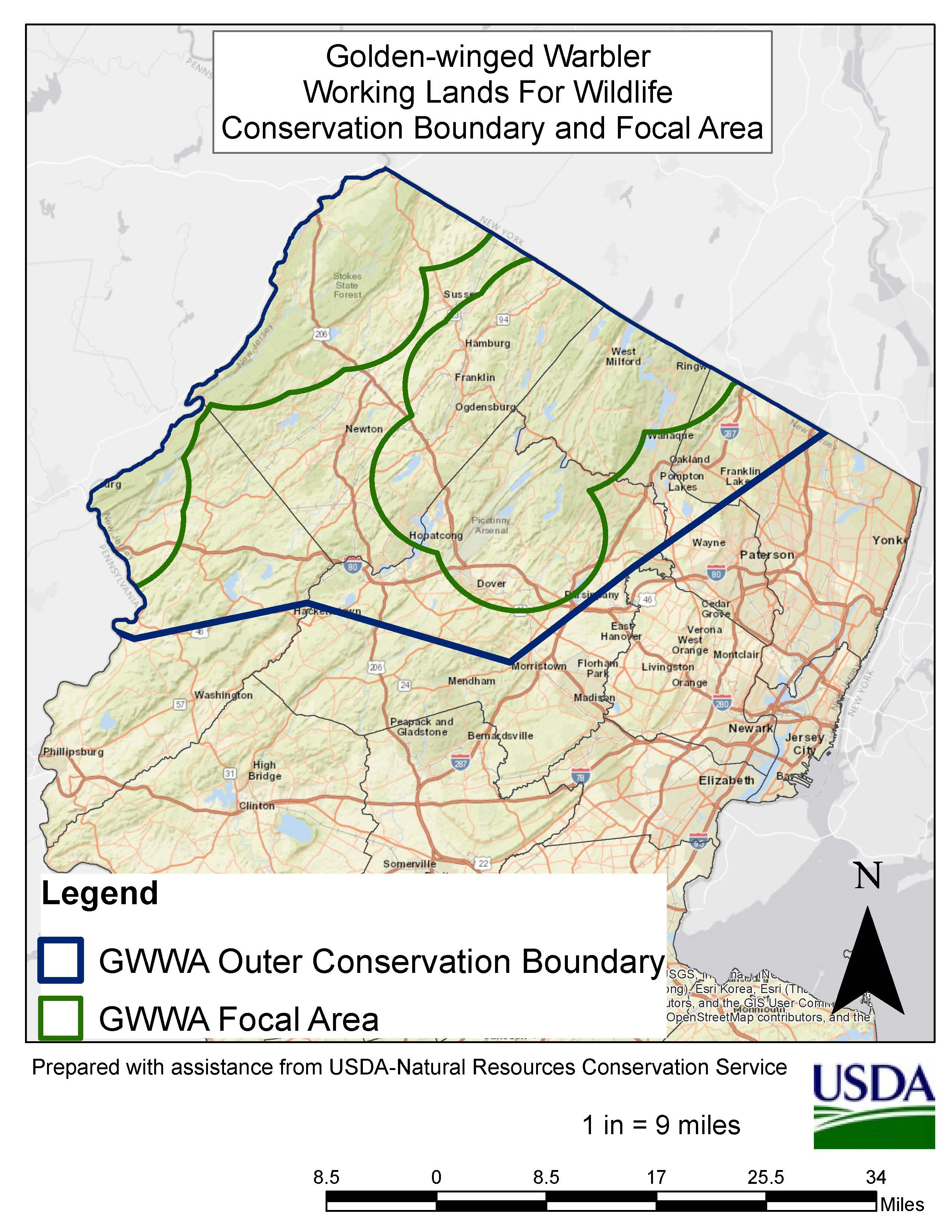 This map shows GWWA focal area in New Jersey.