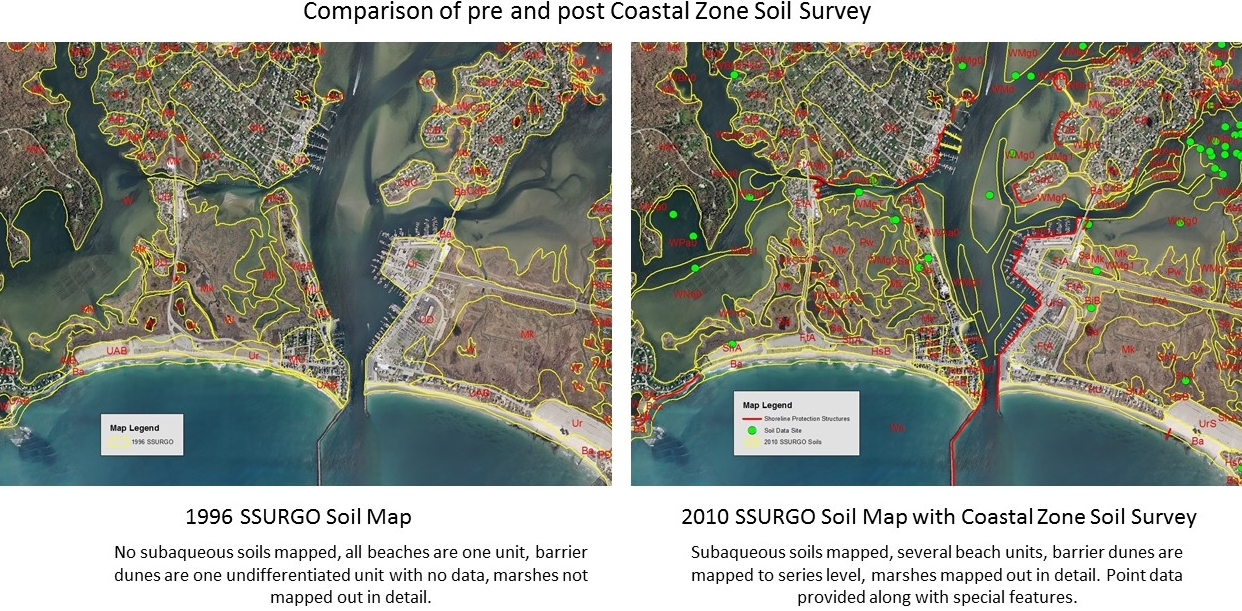 Comparison of Pre and Post Coastal Zone Soil Survey.