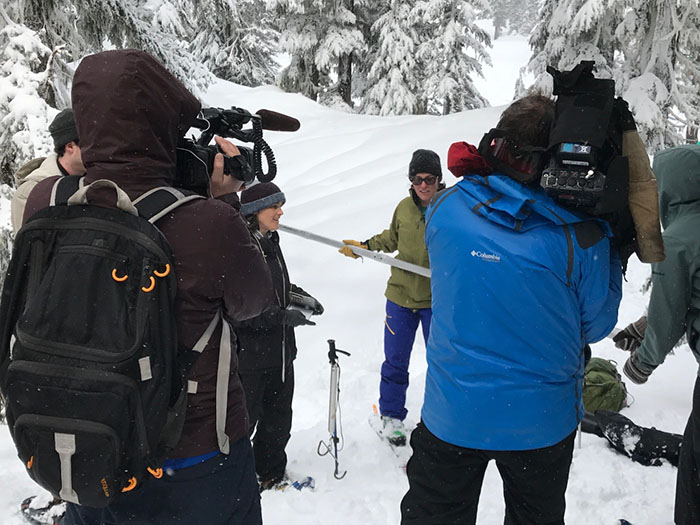 Julie speaks to reporters about the Oregon snowpack and future water availability. Photo by Spencer Miller, NRCS National Headquarters Public Affairs Specialist