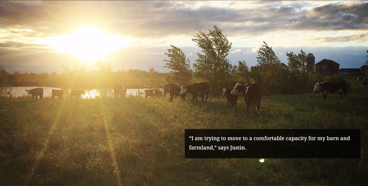 """I am trying to move to a comfortable capacity for my barn and farmland,"" says Justin."