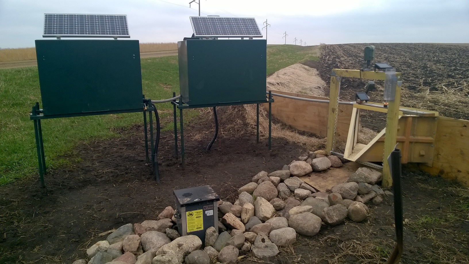 One of two monitoring stations, installed by Discovery Farms Minnesota. By comparing runoff from adjacent areas, Discovery Farms will measure the impact of conservation practices.