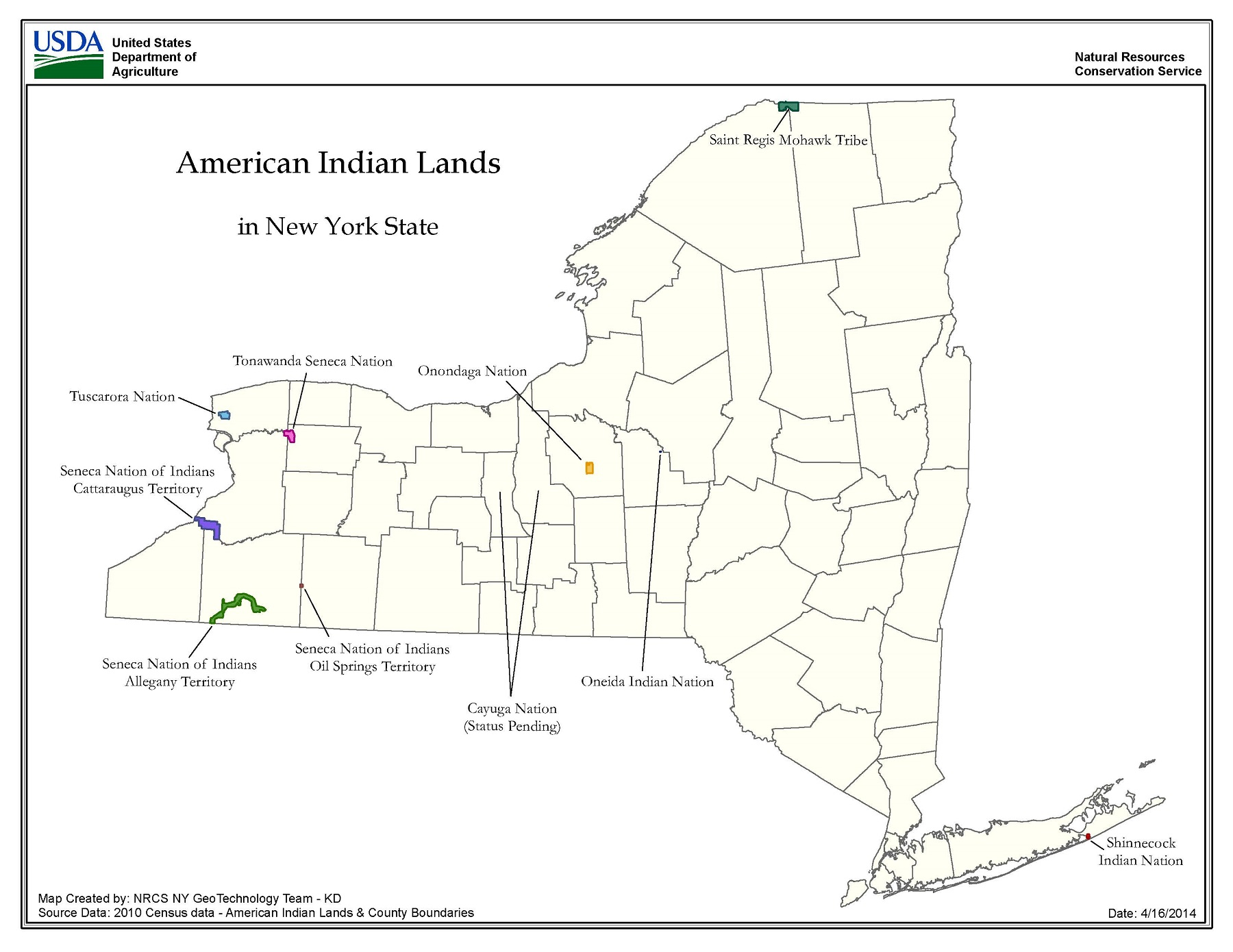 federally and state recognized nation and tribal american indian lands in new york state